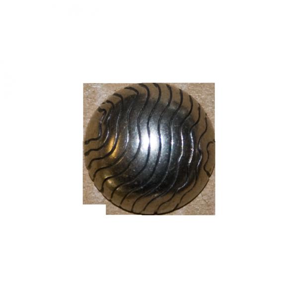 Knopf Wellen, Halbkugel, silber, 12 mm