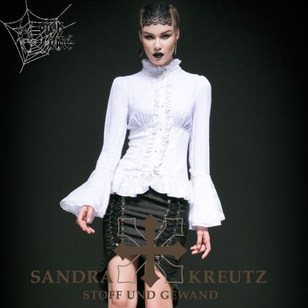wei e bluse elegant mit stehkragen steampunk shop sandra. Black Bedroom Furniture Sets. Home Design Ideas
